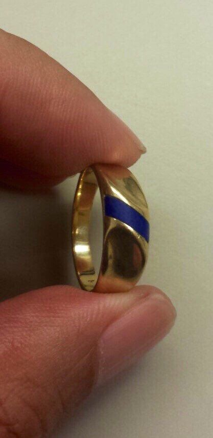 A personal favorite from my Etsy shop https://www.etsy.com/listing/279945218/14k-yellow-gold-ringband-with-lapis