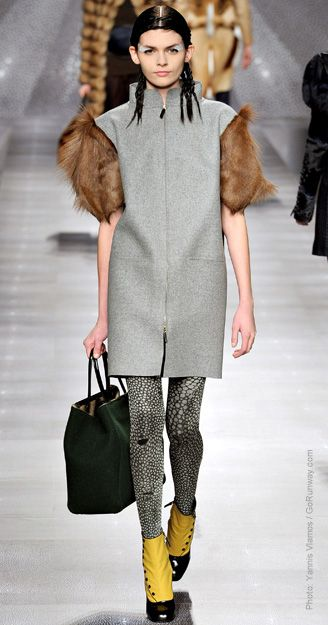 """Fur as an accent has popped up on many runways for Fall 2012 and is being touted as the """"most modern way to wear fur"""" by Style.com. Designers used fur as sleeves, skirts, trims, or hems adding a little bit of luxury and warmth to mostly simple designs. - Hannah Exner"""