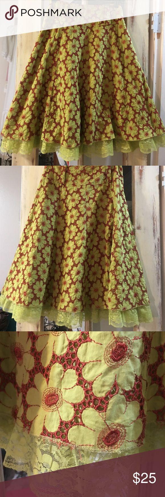 "Aryeh lace hem skirt 26"" long rust & lime skirt. Side zip 13"" waist band. Lace hem aryeh Skirts Midi"