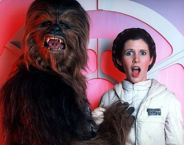 Chewbacca getting a bit frisky during one of the funnier outtakes.