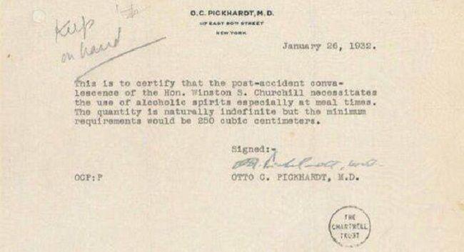Cuando Churchill, en plena Ley Seca, pudo beber alcohol en EEUU por prescripción médica - Cuaderno de Historias
