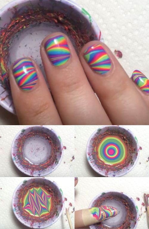 This is called Water Marbling and just watch how easily she creates this fun Rainbow Manicure with nail polish, water, and tape. Incredible nail art tutorial!