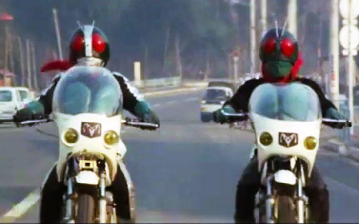 Close Up of Old Nigo and Sakurajima Ichigo riding on their Modified Cyclone at the opening of KAMEN RIDER vs. SHOCKER (1972 movie)
