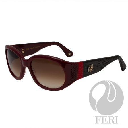 FERI - Dublin Red - Shield - Red acetate sunglasses - Acetate is a hypo allergenic plastic - Acetate is used for its shine, color depth and durability - Embellished with coloured stones and genuine lizard skin - FERI plate on outer arms - Lenses are UV 400 and provide protection against harmful UV rays  Invest with confidence in FERI Designer Lines.  www.gwtcorp.com/ghem or email fashionforghem.com for big discount