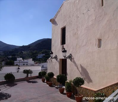 Church and plaza Santa maria in Bedar village