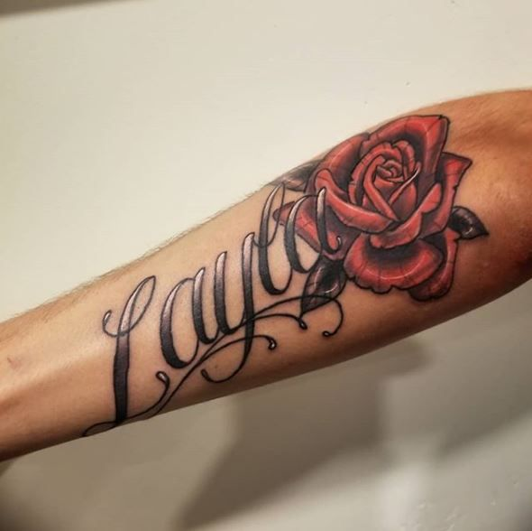 Tattoo By Cody Cook At Painted Temple Tattoo And Art Gallery In Slc Ut Forearm Name Tattoos Name Tattoos Baby Name Tattoos