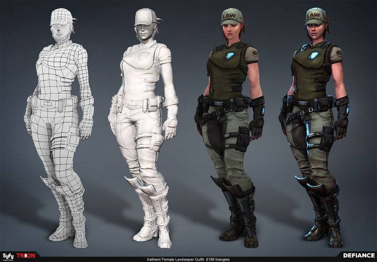 Lawkeeper Outfit – Defiance  Irathient female Lawkeeper outfit from the game Defiance. - Artwork by Allan Lee  Game Developer – © Trion Worlds