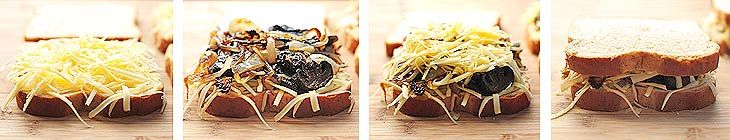 Grilled Cheese with Gouda, Roasted Mushrooms and Onions   http://shewearsmanyhats.com/mushroom-onions-gouda-grilled-cheese/