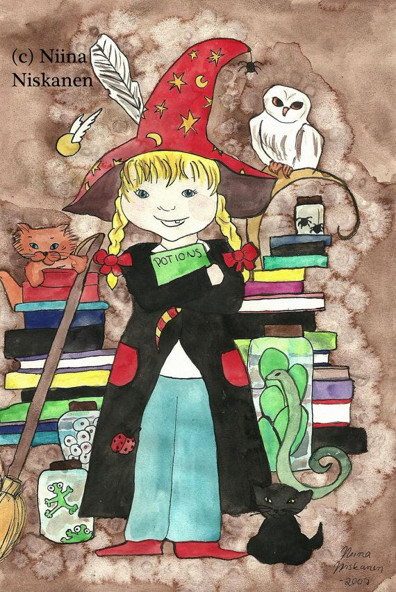 Original Painting - Wizard School- Witch Girl Watercolor Illustration- Fantasy Art - Colorful Art - Art for Children - Nursery Wall Art