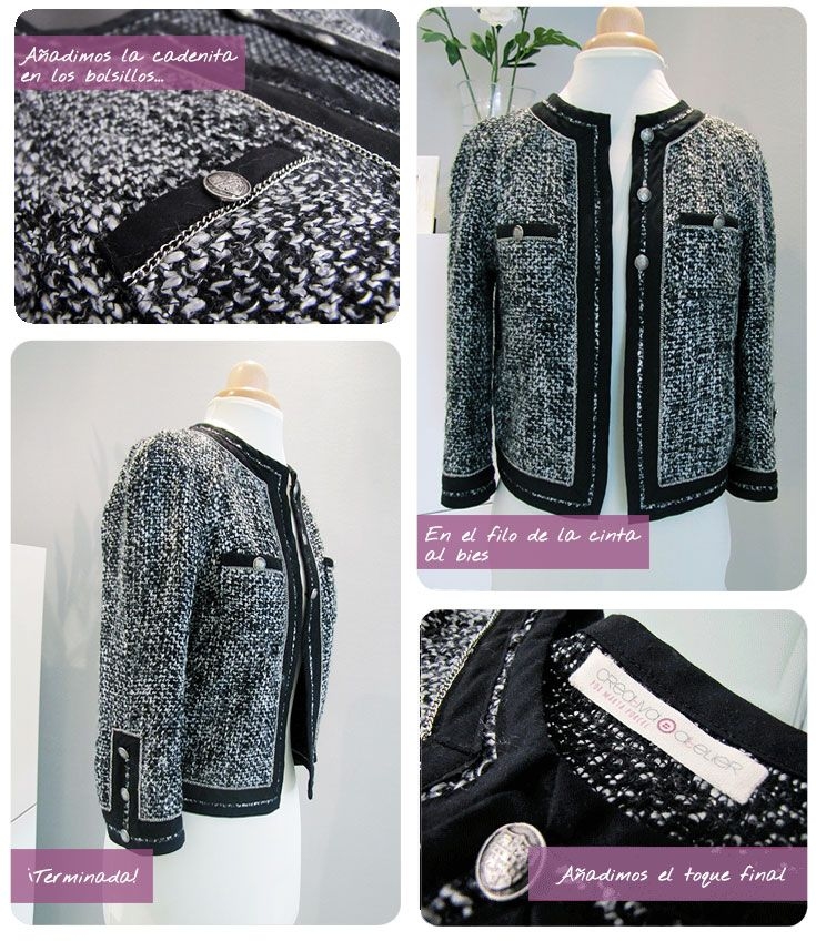 chaqueta chanel DIY 11 Chaqueta de Tweed tipo Chanel. #DIY