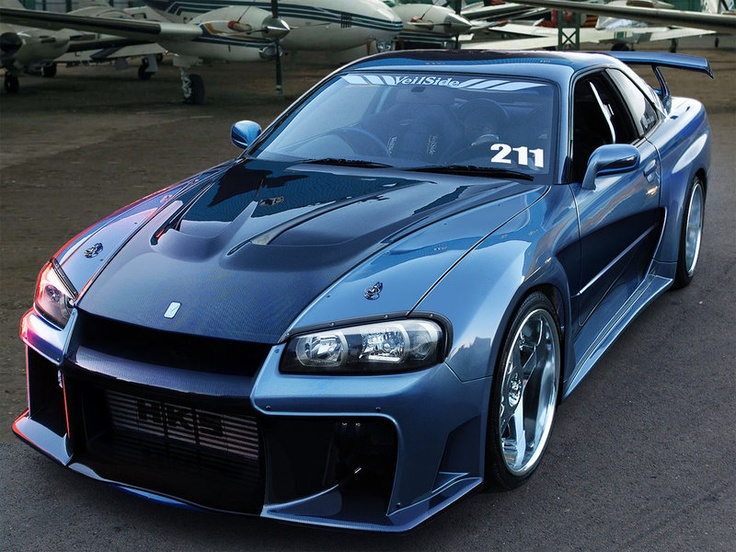 It is an r34 with a veilside fortune body kit sick for Nissan gtr bodykit