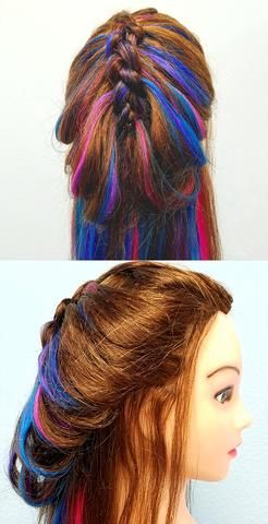 Created with our Perky Peacock Full Head set   Tutorial Coming later today! DIY hair extensions rainbow braid