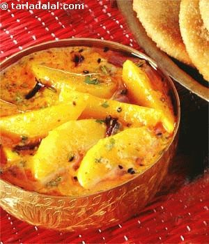 The ever popular potato finds its way into every cuisine and is cooked in a different, delicious way each time.  This recipe cooks them in tangy yoghurt gravy that is flavoured with fennel and nigella and other subtle spices.  Aloo ki Subji served with puris is a favourite breakfast combination washed down with hot masala tea.