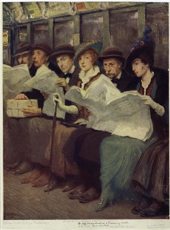 Planes Trains and Automobiles Archives - The Bowery Boys: New York City History    Subway riders, painting by F. Luis Mora, 1914 (NYPL)