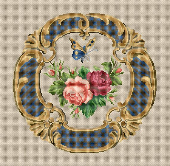ANTIQUE ROSE Cross Stitch Pattern PDF  Instant by FancyworkDesign