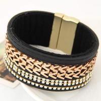 Metal W Letter Shape Weaving Decorated Multilayer Design Black