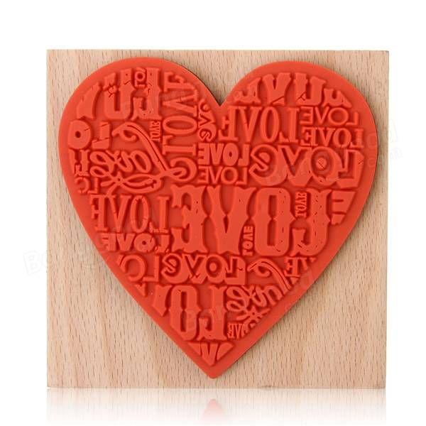 Selo do coração diy de madeira de borracha amor pelo diário sucata artesanato cartão de reserva