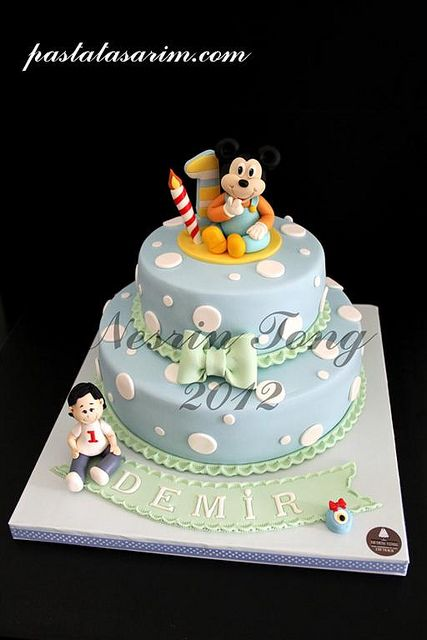 baby mickey mouse cake - demir 1st birthday (Medium) by CAKE BY NESRİN TONG, via Flickr