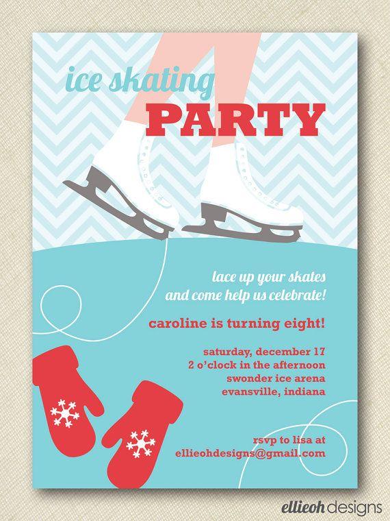 Printable Invitations Ice Skating holiday ice skating invitation