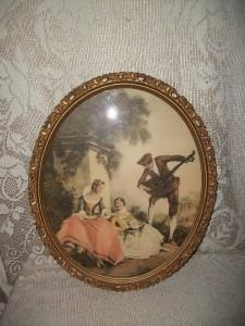 ANTIQUE FRENCH MAN/LADIES PRINT IN FANCY WOOD/GESSO FRAME