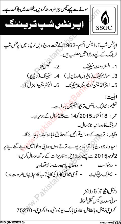 Jobs in Pakistan: Sui Southern Gas Company Apprenticeship 2015 Octob...