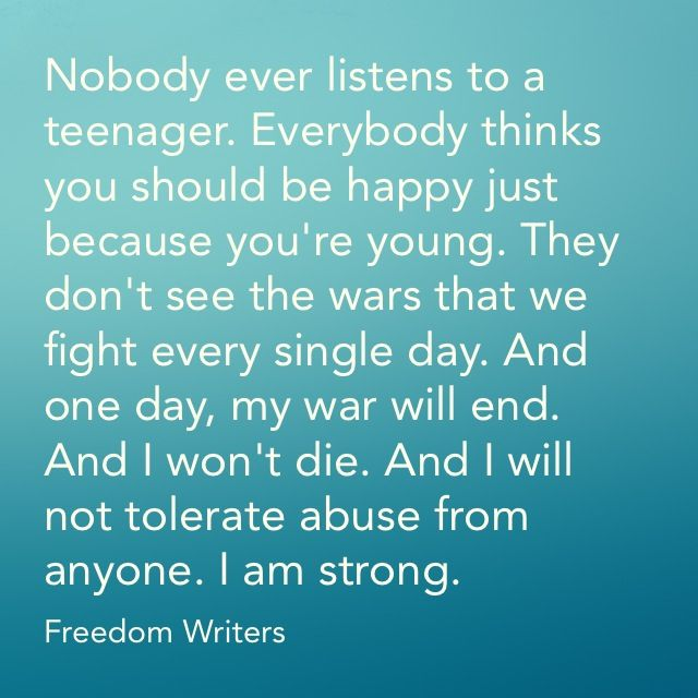 Quote from the movie Freedom writers this is one of those movies where if you don't see it you won't understand cause this quote means something totally different then you think so repost if u understand and have seen the movie