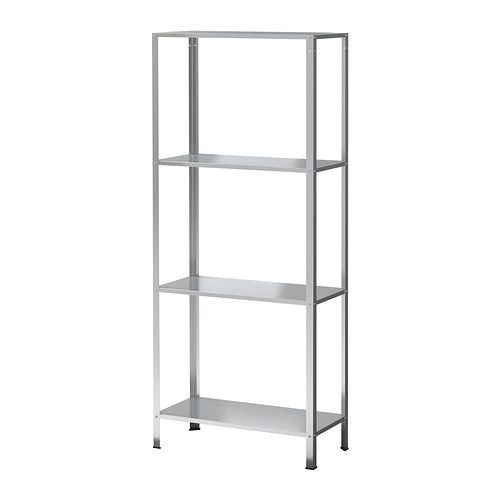 HYLLIS Shelving unit, galvanized, ikea $14.99 would be great hacked with gold spray paint and stained or white painted plywood shelves