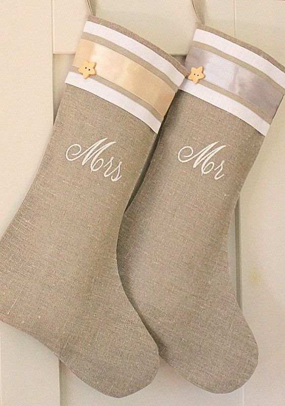 Personalized Christmas stocking Burlap linen Embroidered stocking