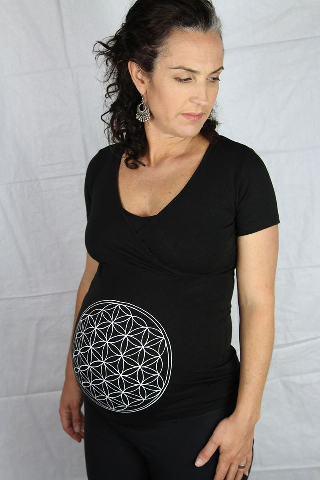 Black Cross-Over Tee with White 'Flower of Life' Symbol. Organic Cotton / Bamboo. Fair Trade.