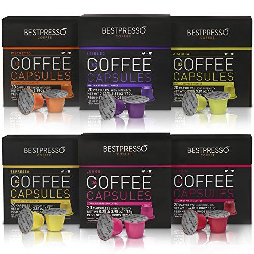 Nespresso Compatible Gourmet Coffee Capsules - 120 Pod Variety Pack - for Original Line Nespresso Machine - Bestpresso Brand Certified Genuine Espresso >>> You can find out more details at the link of the image.