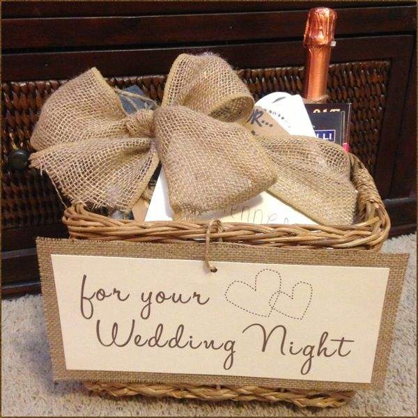 "Could be a cute idea for the bride. Wedding Night necessities gift basket! Bridal Shower / Bachelorette gift. Put tags on all the goodies inside: Lingerie ""for the bride"" 