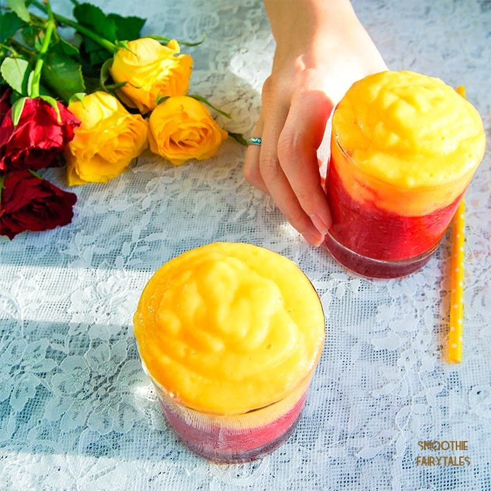 Gorgeous and insanely tasty smoothie recipe - Mango Raspberry Sunrise. The smoothie has two layers and is made with only two basic ingredients. READ MORE