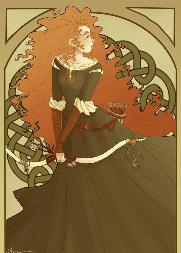 Art Nouveau Disney Princesses | ... and Action: Merida Art Nouveau & Other BRAVE Fan Art by Seancaithe