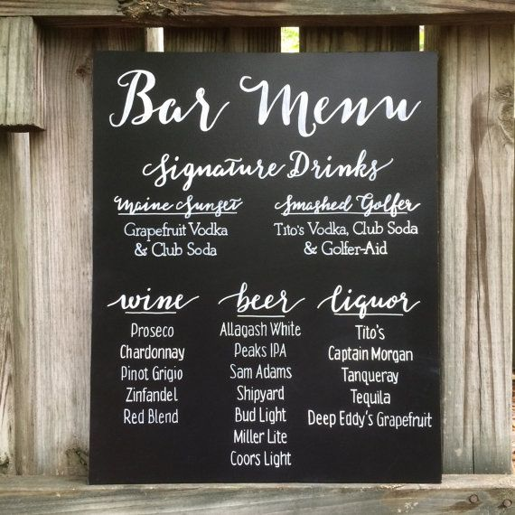 Hand painted Bar Menu, Drink Menu, Signature Drinks Wedding Chalkboard