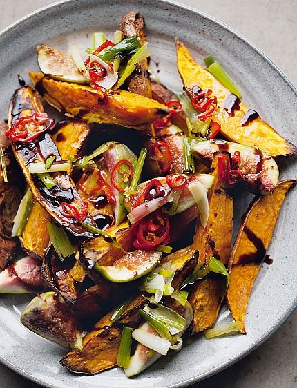 Simple & Impressive Roasted Sweet Potatoes & Fresh Figs. Recipe: Jerusalem @Amazon UK http://amzn.to/V8xI5Q #food