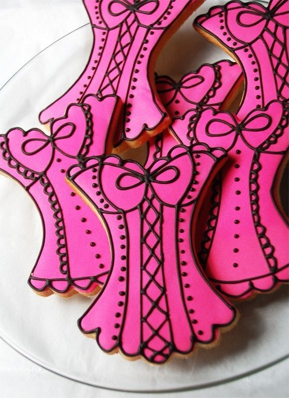 Bachelorette Party Weekend. Hot Pink, Black, and Silver. corset cookies. so cute!
