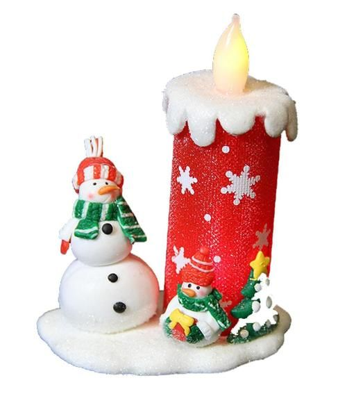 """4"""""""" Snow Drift Red LED Lighted Christmas Candle with Snowman Accents"""