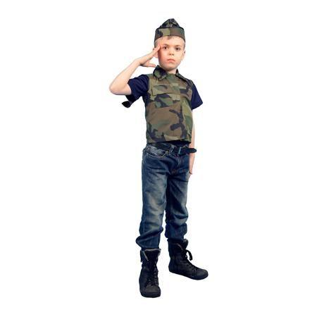 """Вестифика Карнавальный костюм """"Солдат"""", Вестифика  — 699р. ----- Костюм Военного разработан специально для праздника, посвященного Дню Защитника отечества - 23 февраля. Военный костюм предназначен для утренников в детском саду. Он выполнен из камуфляжной ткани. Жилетка застегивается на груди на липучку, беретка регулируется по ширине шнурком. Широкие брюки, собранные на резинку, не стесняют движения. Костюм Военного понравится мальчикам. Рекомендуем дополнить костюм темными ботинками в цвет…"""