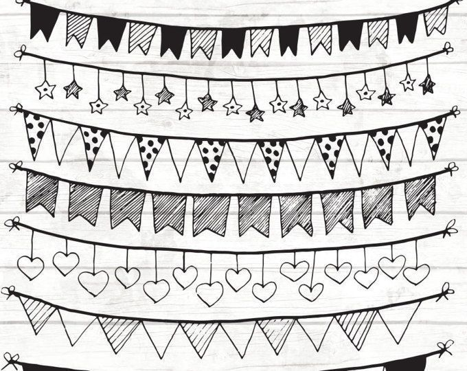 Bunting Clipart Commercial Design Doodle Drawn Garland Hand Handdrawn Handmade Invitation Poster Scrapb Handmade Poster How To Draw Hands Clip Art