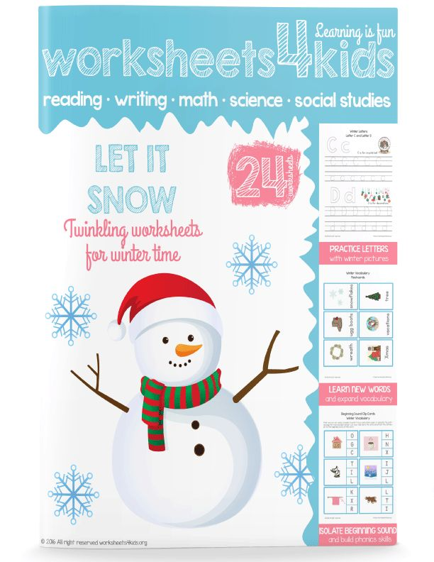 These winter worksheets will be a great addition to your literacy lesson. Students will learn new winter related words, practice phonics skills and learn to write all 26 letters of the alphabet.  You can also use this book as an afterschool activity, play memory game (simply print vocabulary cards twice) and learn new games or play a charade during the snowy evenings.