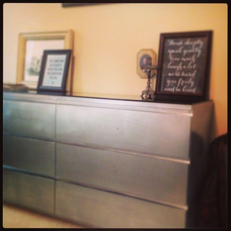 malm dresser redo chrome spray paint furnish
