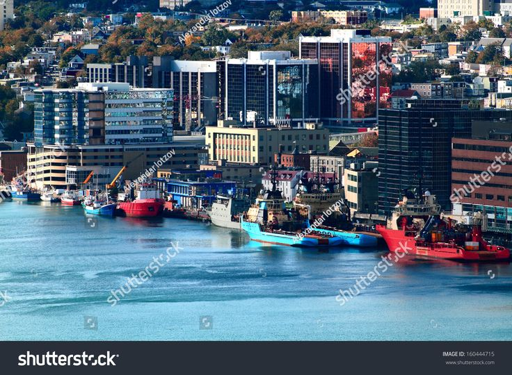 Downtown of Newfoundland and Labrador Capital - St. John's and part of the Harbor.