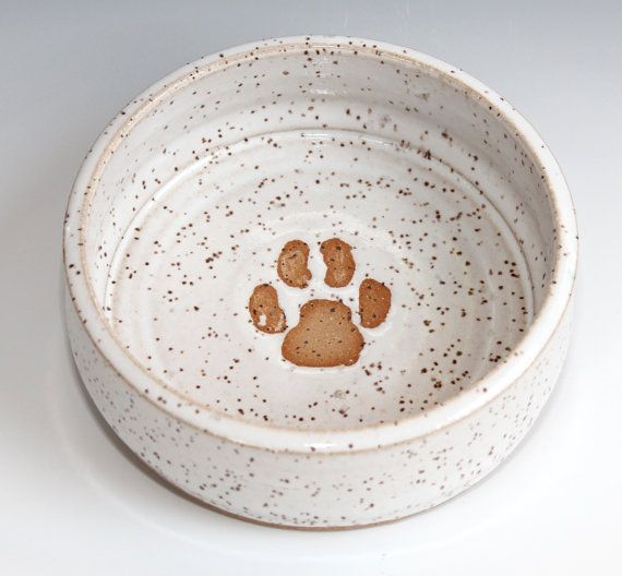 White Paw Print Dog Bowl