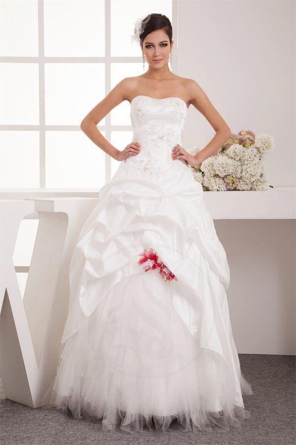 Robe de mariée vie cou en taffetas de lotus avec fleurs