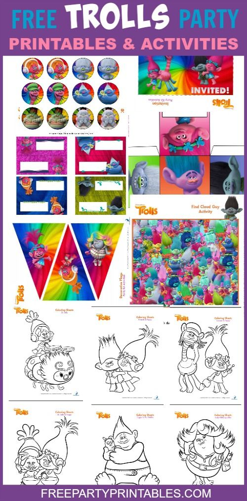 Free Printable Trolls Party Pack and Activity Pages – Free Party Printables
