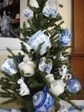 christmas decorations in blue and white china