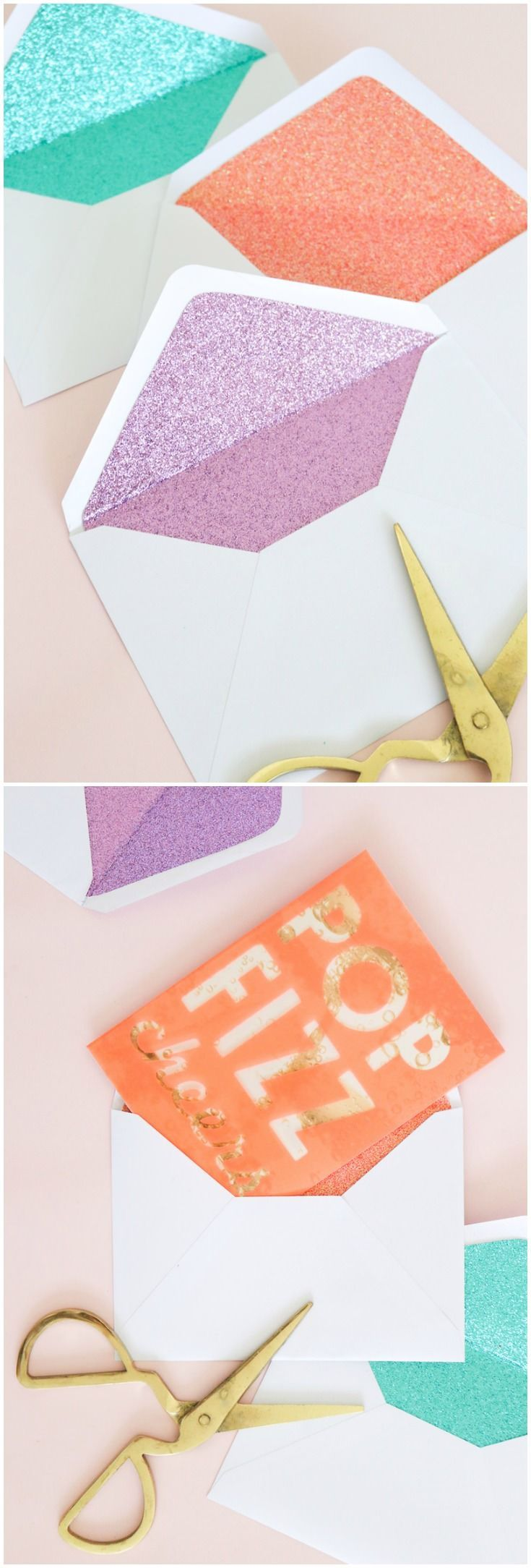 These DIY glitter lined envelopes are easy to make and add a surprise pop of color when the envelope is opened! Perfect for party invitations. via @modpodgerocks