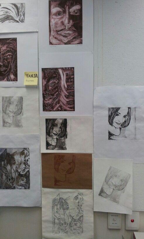 Self Portraits > Mono prints/ Dry point etchings clean & selective prints