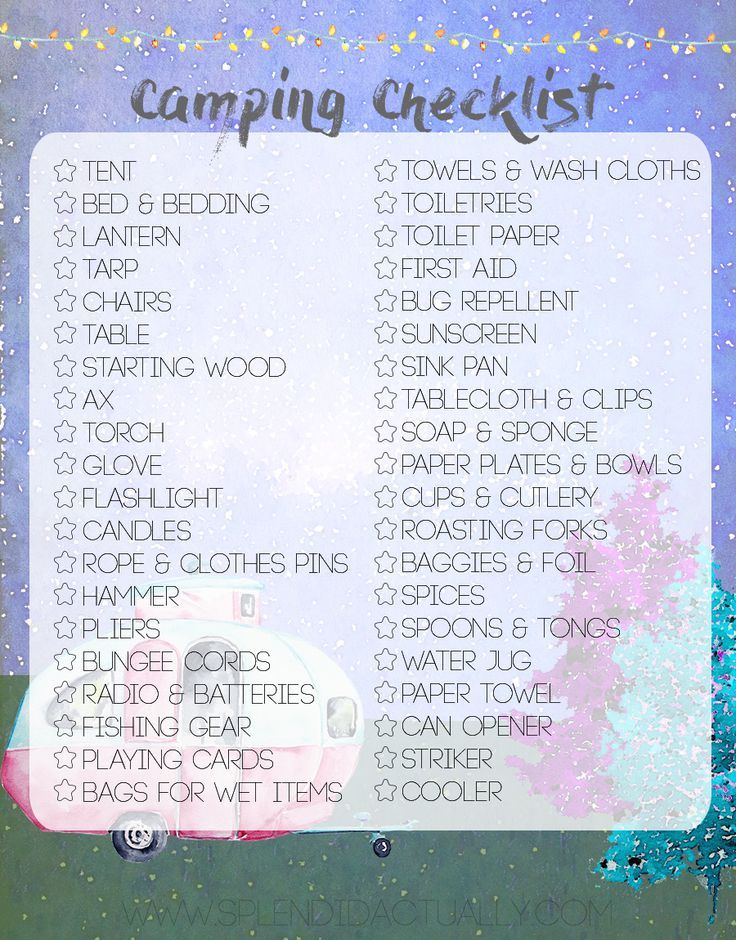 Camping Checklist! and a Free Printable Planner Dashboard