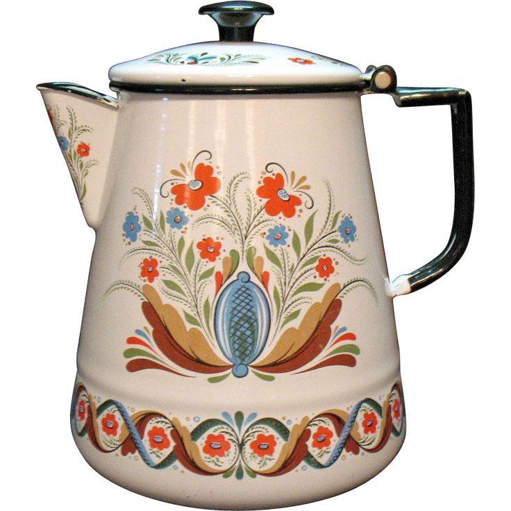 Vintage Swedish Scandinavian Folk Art Style Coffee Pot by ...